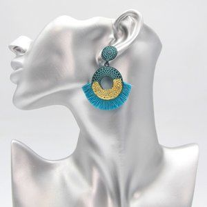 Jewelry - Turquoise and Gold Patina Fringe Drop Earrings